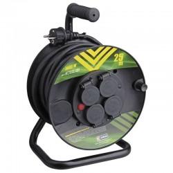 25 M - Gumový prodlužovací kabel na bubnu - 4 x zásuvka - 25 m - 3680 W